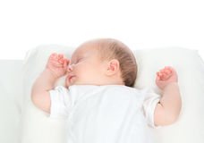 Newborn infant baby girl sleeping on her back Royalty Free Stock Images