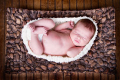 Newborn infant baby sleeping Stock Images