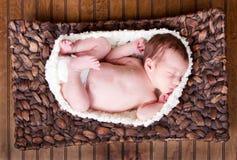 Newborn infant baby sleeping Stock Photo