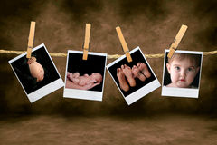 Newborn Infant and Pregnancy Shots Hanging on a Ro Stock Photo