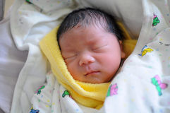 The newborn infant sleeping royalty free stock image