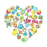 Newborn infant themed cute doodle set. Baby care, feeding, clothing, toys, health care stuff, safety, accessories. Vector drawings royalty free illustration