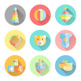 Newborn infant themed cute flat icon set. Baby care, clothing, t Stock Photography