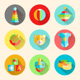 Newborn infant themed cute flat icon set. Baby care, clothing, t Royalty Free Stock Photography