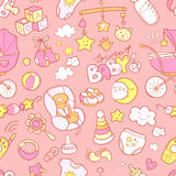Newborn infant themed doodle seamless pattern. Baby care, feedin Stock Photo