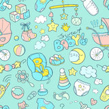 Newborn infant themed doodle seamless pattern. Baby care, feedin Royalty Free Stock Photos