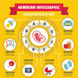 Newborn infographic concept, flat style Royalty Free Stock Photography
