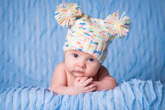 Newborn in knitted cap on a blue background. Newborn in a knitted cap on a blue background Royalty Free Stock Images