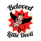 Newborn little baby - demon, devil or old nick. Beloved newborn little baby in the form of demon, devil or old nick - smiling with small arms and legs - stylized Stock Image