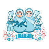 Newborn little baby. Matryoshka. Greeting card. Best for birthday congratulation Royalty Free Stock Photography