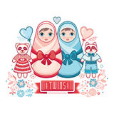 Newborn little baby. Matryoshka. Greeting card. Best for birthday congratulation Royalty Free Stock Photo