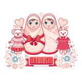 Newborn little baby. Matryoshka. Greeting card. Best for birthday congratulation Stock Photography