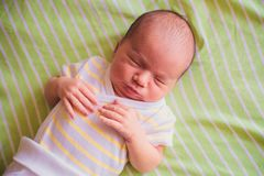 Newborn little baby sleeping Royalty Free Stock Images