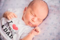 Newborn little baby sleeping Royalty Free Stock Image