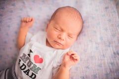 Newborn little baby sleeping Stock Images