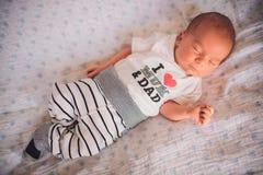 Newborn little baby sleeping Stock Photos