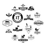 Newborn logo icons set, simple style. Newborn logo icons set. Simple illustration of 16 newborn logo vector icons for web Stock Photos