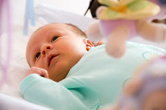 Newborn looking. Four week baby looking and thinking Stock Images