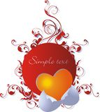 Newborn love. Orange heart against a vegetative ornament Royalty Free Stock Images