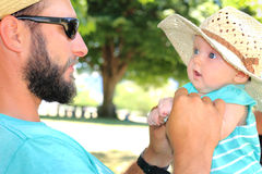 Newborn Loves Daddy Stock Photo