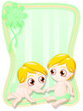 Newborn male twins. Graphic greeting card for newborn male twins in green Stock Images