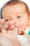 Newborn with milk Stock Photos