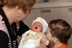 Newborn with an open mouth Stock Photography
