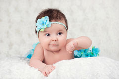 Newborn portrait of a girl with a bandage knitting a blue flower Royalty Free Stock Images