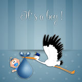 Newborn postcard for boy Royalty Free Stock Photo