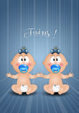 Newborn postcard with twin boys Stock Images