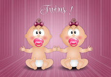 Newborn postcard with twin girls Stock Photography