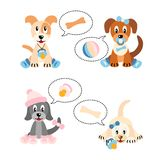 Newborn puppies - illustration on white background Stock Images