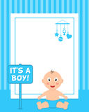 Newborn It's a Boy Vertical Photo Frame Stock Photo