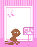 Newborn It's a Girl Vertical Photo Frame Stock Photo