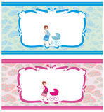 Newborn set banners.Two colors for boys and girls. Royalty Free Stock Photos