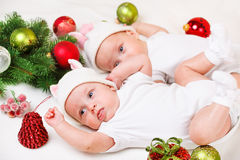 Newborn siblings Royalty Free Stock Photography