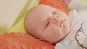Newborn Sleeping Baby in Bed Close Up stock photography