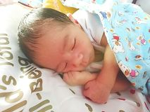 Newborn sleeping Stock Image