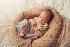 Newborn sleeping baby boy Stock Image