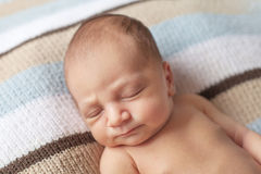 Newborn sleeping baby boy Stock Photography