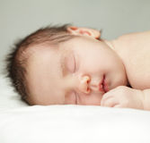 Newborn, sleeping baby close-up Stock Images