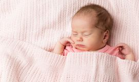 Newborn Sleeping, Baby Girl Sleep In Bed, Beautiful New Born Kid Asleep Covered Blanket stock image