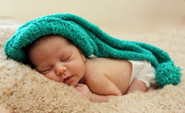 Newborn sleeping baby Stock Photography