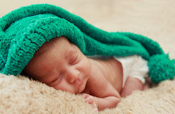 Newborn sleeping baby Royalty Free Stock Images