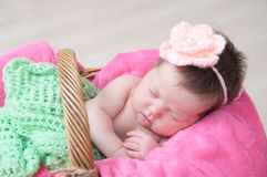 Newborn sleeping in basket, baby girl lying in pink blanket, cute child. Daughter announcement Royalty Free Stock Photo
