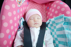 Newborn sleeping in car seat.Safety concept. Infant baby girl. secure driving with children. Baby care lifestyle. Cute baby Stock Photo