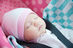 Newborn sleeping in car seat.Safety concept. Infant baby girl. secure driving with children. Baby care lifestyle. Cute baby Royalty Free Stock Image
