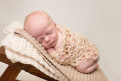 Newborn Sleeping on Chair Stock Image