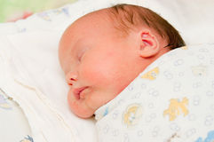 The newborn sleeps. Image asleep new-born wrapped in a diaper Royalty Free Stock Photo