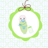 Newborn swaddle baby boy with bottle greeting card Stock Photography